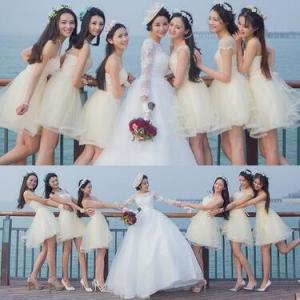 ウエディングドレス 二次会ドレス 演奏会 結婚式 披露宴 花嫁 発表会 パーティドレス フォーマル ブライズメイド ミニドレス|tman
