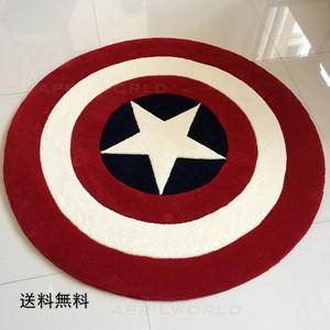 キャプテン アメリカ 人気 カーペット 絨毯玄関マット 円形 浴室/キッチンマット滑り止めインテリア ラグマット  快適生活カーペット 洗える ふわふわ|tman