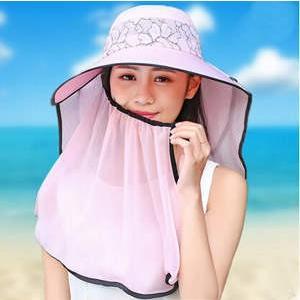 帽子 つば広ハット レディース UVカット サンバイザー 紫外線対策 マスク付 レース 360度カット 透け感 折畳み可 農作業 自転車 アウトドア 日よけ 春夏|tman
