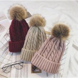 ニット帽子 帽子 レディース ニットキャップ ぼうし ケーブル編み 耳当て 小顔効果 ポンポン付き あったか 暖かい 防寒 冬物 2018 新作 送料無料|tman