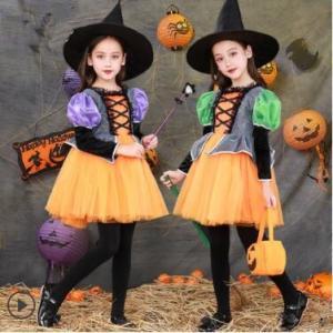 ハロウィン 衣装 子供 女の子 4点セット キッズ 仮装 子供服 悪魔 小悪魔 巫女 ハロウィーン Halloween コスプレ コスチューム ドレス 魔女 人気 送料無料|tman