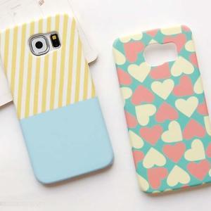 Samsung Galaxy S6Edgeカバー サムサン ギャラクシーS6エッジケース Galaxy S6ケース ギャラクシーS6カバー 可愛い ストライプ/愛の心 ハート 彩色上絵 マット感|tman