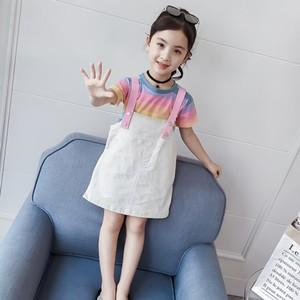 f391340ef8bfe 子ども服 子供服 2点セット 女の子 半袖Tシャツ+サロペット キッズ スカートセットアップ