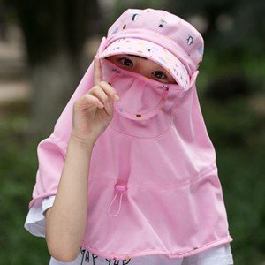 つば広帽子 サファリハット キッズ用 子供用 子ども用 UVカット フェイスカバー付 取外し可 紫外線対策 サンバイザー 日焼け止め アウトドア 通気性 遮光 tman