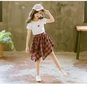 子ども服 子供服 2点セット 女の子 半袖Tシャツ+スカート/キュロット チェック柄 キッズ セットアップ 上下セット オシャレ 夏物 新作 送料無料|tman