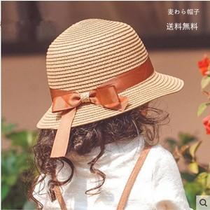 麦わら帽子 キッズ用 親子 母 女の子 日よけ帽子 ハット ビーチハット uvカット 蝶結びリボン付き ツバ広 ベビー 子ども用 紫外線対策 可愛い 無地 夏 送料無料|tman