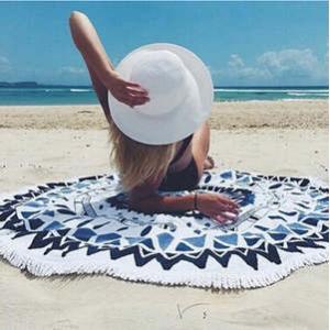 ラウンドビーチタオル ラウンドビーチラグ ビーチ 海 海外セレブ ヨガマット ビーチタオル プール プールパーティー ビーチマット フリンジ 夏 水着 大判 プール|tman