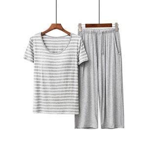 2点セット パジャマ 半袖パジャマ ロングパンツ 上下セット レディース パットあり ボーダー柄 部屋着 寝巻き セットアップ 薄手 夏物 新作|tman