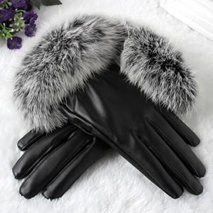 スマホ手袋 フェイクレザー レザー手袋 兎の毛皮 リアルファー レディース 裏地付き 防水 防寒 暖かい 秋冬|tman