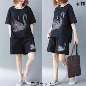 二点セット 半袖Tシャツ+ショートパンツ レディース プリント ゆったり 大きいサイズ 着痩せ カジュアル ファッション 2018 夏 新作 tman 送料無料|tman