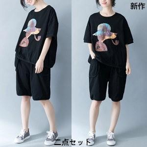 二点セット 半袖Tシャツ+ショートパンツ レディース プリント リネン 綿麻 ゆったり 大きいサイズ 体型カバー 着痩せ カジュアル 2018 夏 新作 tman 送料無料|tman