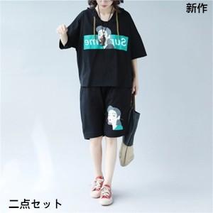 二点セット 半袖Tシャツ+ショートパンツ レディース プリント フード付き ゆったり 大きいサイズ 体型カバー 着痩せ カジュアル 2018 夏 新作 tman 送料無料|tman