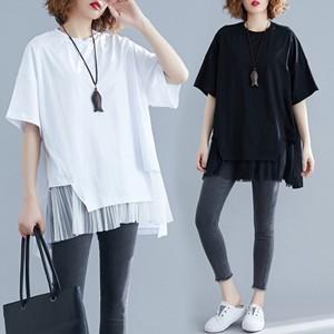 リネンTシャツ tシャツ レディース Tシャツ 半袖 チュール切り替え 重ね着風 丸首 綿麻 ゆったり 大きいサイズ 体型カバー おしゃれ 夏物 新作 送料無料|tman