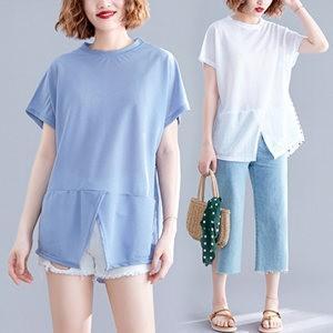 Tシャツ tシャツ レディース 半袖tシャツ 半袖 丸首 無地 スリット 夏tシャツ ゆったり 大きいサイズ 体型カバー おしゃれ 着痩せ 夏物 新作 送料無料|tman