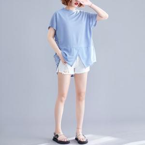 Tシャツ tシャツ レディース 半袖tシャツ 半袖 丸首 無地 スリット 夏tシャツ ゆったり 大きいサイズ 体型カバー おしゃれ 着痩せ 夏物 新作 送料無料|tman|02