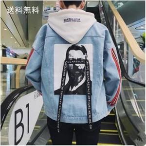 デニムジャケット メンズ アウター デニム ジャケット ショート丈 長袖 ロゴ付き 着〓せ ストライプ 個性 春秋 新作 送料無料|tman
