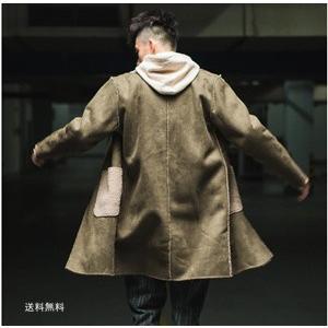 セーム革ジャケット ロングコート メンズ アウター トレンチコート シンプル 長め丈 裏ボア 防寒 暖か 折り襟 冬新作|tman
