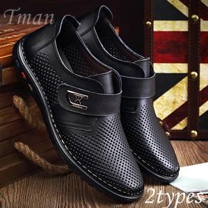 メッシュシューズ メンズ 本革シューズ 本革靴 ビジネスシューズ 革靴 本革サンダル 通気性抜群 安定感 カジュアル コンフォート|tman