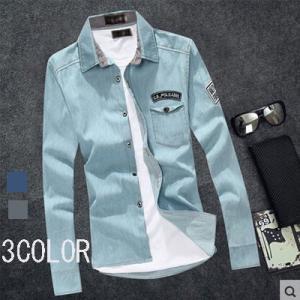 デニムシャツ メンズ シャンブレーシャツ シャツ デニム 長袖 カジュアルシャツ 秋物|tman