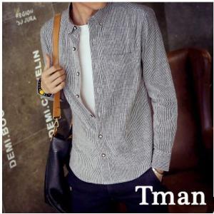 ストライプシャツ メンズ 長袖 コットンシャツ ストライプ 長袖シャツ ボタンダウンシャツ メンズファッション 送料無料 春新作 tman