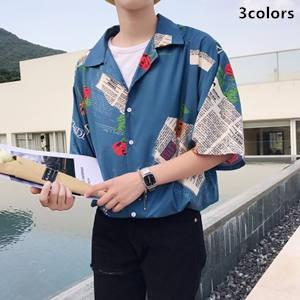 シャツ メンズ 半袖 開襟 花柄 デザイン ゆったり カジュアル ファッション 通学 韓国風 トップス 2018 夏 夏物 新作 tman 送料無料|tman