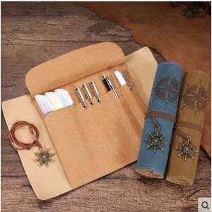 ロールペンケース ペンケース レザー プレゼント プリント 海賊船 筆箱 贈り物 誕生日 女性 男性|tman