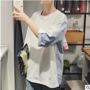 Tシャツ tシャツ メンズ レディース カップル 五分袖 丸首 切り替え 夏tシャツ ゆったり カジュアル おしゃれ トップス 夏物 新作 送料無料|tman