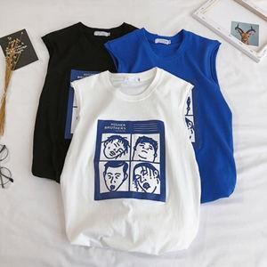 タンクトップ メンズ ノースリーブ ベスト プリント Tシャツ tシャツ ゆったり 大きいサイズ 体型カバー 運動 おしゃれ カジュアル 夏物 新作 送料無料|tman