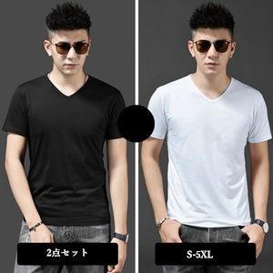 2点セット Tシャツ tシャツ メンズ 半袖tシャツ 半袖 Vネック 無地 夏tシャツ メンズtシャツ カジュアル おしゃれ 着痩せ トップス 夏物 新作 送料無料|tman