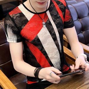 Tシャツ tシャツ メンズ 半袖tシャツ 半袖 プリント 透かし彫り 丸首 夏tシャツ メンズtシャツ カジュアル おしゃれ 細身 着痩せ 夏物 新作 送料無料|tman