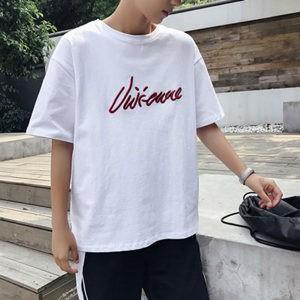 Tシャツ tシャツ メンズ 半袖tシャツ 半袖 丸首 夏tシャツ ゆったり 大きいサイズ 刺繍 おしゃれ 着痩せ 通学 カジュアル 夏物 新作 送料無料|tman