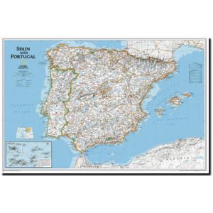 ナショナル・ジオグラフィックの地図ポスター スペイン・ポルトガル・ウォールマップ  Spain & Portugal Classic