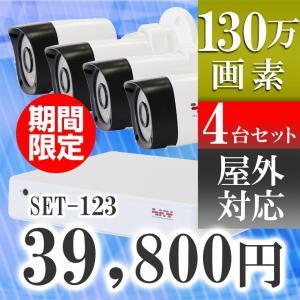 【期間・数量限定!】防犯カメラ 130万画素 赤外線 レコーダーセット 屋外用 防水 カメラ4台セット 監視カメラ AHD  SET-123|tmts
