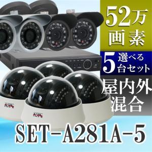 防犯カメラ レコーダーセット 赤外線 屋外用 防水 屋内用ドーム 5台セット SET-A281A-5 バレット|tmts