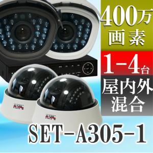 防犯カメラ AHD 400万画素 赤外線搭載 2000GB HDD 屋外用防水、屋内ドームから選べるレコーダーと監視カメラ1〜4台セット SET-A305 SONYセンサー|tmts
