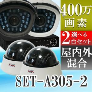 防犯カメラ AHD 400万画素 赤外線搭載 2000GB HDD 屋外用防水、屋内ドームから選べるレコーダーと監視カメラ2台セット SET-A305-2 SONYセンサー tmts