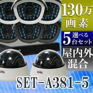 防犯カメラ AHD 130万画素 赤外線暗視 レコーダーセット 屋外防水、屋内ドームから選べる監視カメラ5台と録画機セット SET-A381-5 SONYセンサー バレット|tmts