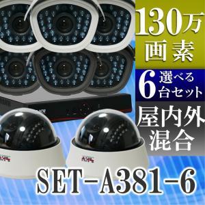 防犯カメラ AHD 130万画素 赤外線暗視 レコーダーセット 屋外防水、屋内ドームから選べる監視カメラ6台と録画機セット SET-A381-6 SONYセンサー バレット|tmts
