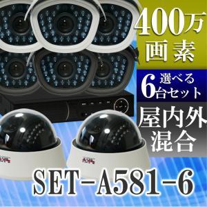 防犯カメラ AHD 400万画素 赤外線暗視 レコーダーセット 屋外防水、屋内ドームから選べる監視カメラ6台と録画機セット SET-A581-6 SONYセンサー|tmts
