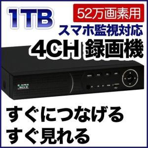52万画素 防犯カメラ 最大4台まで接続可能 録画機 1000GBハードディスク搭載 DVR SKY-524C-1T tmts
