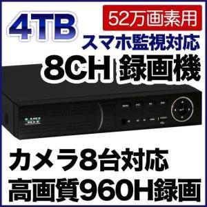 52万画素 防犯カメラ 最大8台まで接続可能 録画機 4000GBハードディスク搭載 DVR SKY-528C-4T tmts