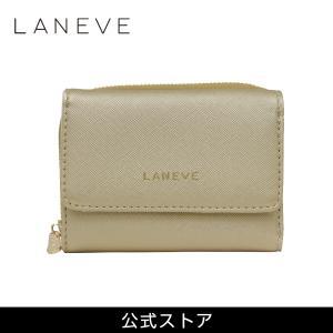 プレゼント LANEVE ランイブ レディース 3つ折り財布 L56802 GL ゴールド 金 (169012) 女性 おしゃれ 通勤 通学 tn-square