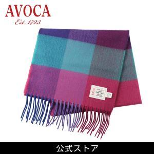 おしゃれ ブランド マフラー メリノウール } AVOCA アヴォカ Merinowool Scarves Jewel Fields (177136) パープル hawks202110|tn-square