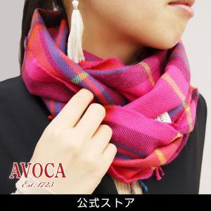 おしゃれ ブランド マフラー メリノウール } AVOCA アヴォカ Merinowool Scarves HOT PINK CHECK (177137) ピンク hawks202110|tn-square
