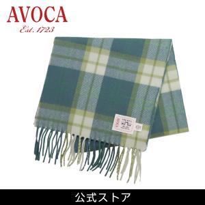 おしゃれ ブランド マフラー メリノウール } AVOCA アヴォカ Merinowool Scarves Green Check (177138) タータン 緑 hawks202110|tn-square