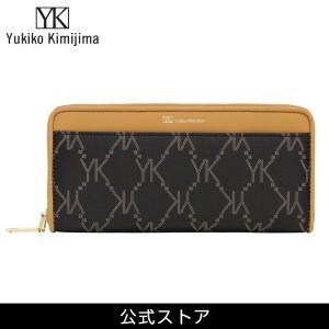 Yukiko Kimijima ユキコ キミジマ ラウンドファスナー 長財布 BK/BE 黒×ベージュ YK019-005 (189559){ 誕生日 プレゼント}|tn-square