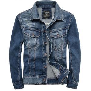 デニムジャケット メンズ ユーズド加工 タイト 在庫限りの価格 通常売価10,165円