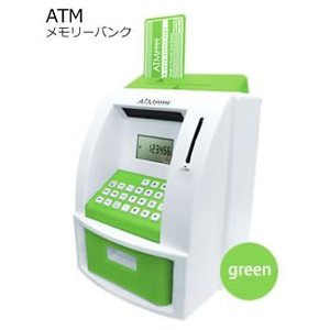 【新品】【超人気商品!】Peanuts Club ピーナッツクラブ 多機能ATM型貯金箱 ATMメモリーバンク グリーン KK-00447GR