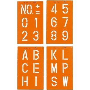SK|TAIHEI 大平産業 トップマーキング TOP-100 文字高100mm 4枚組(数字・記号2種) [マーキングシート スプレーシート 測量 土木 建築 工事現場]|tobeyaki