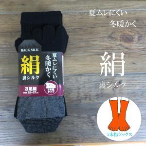 5本指付靴下 絹(裏シルク) 夏ムレにくく冬暖かく カラーミックス X521 tobiwarabiueda